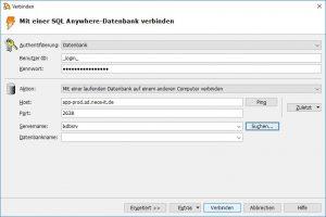 Mit einer SQL-Anywhere-Datenbank verbinden