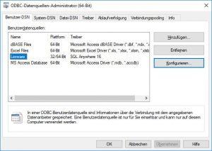 Übersicht ODBC-Datenquellen
